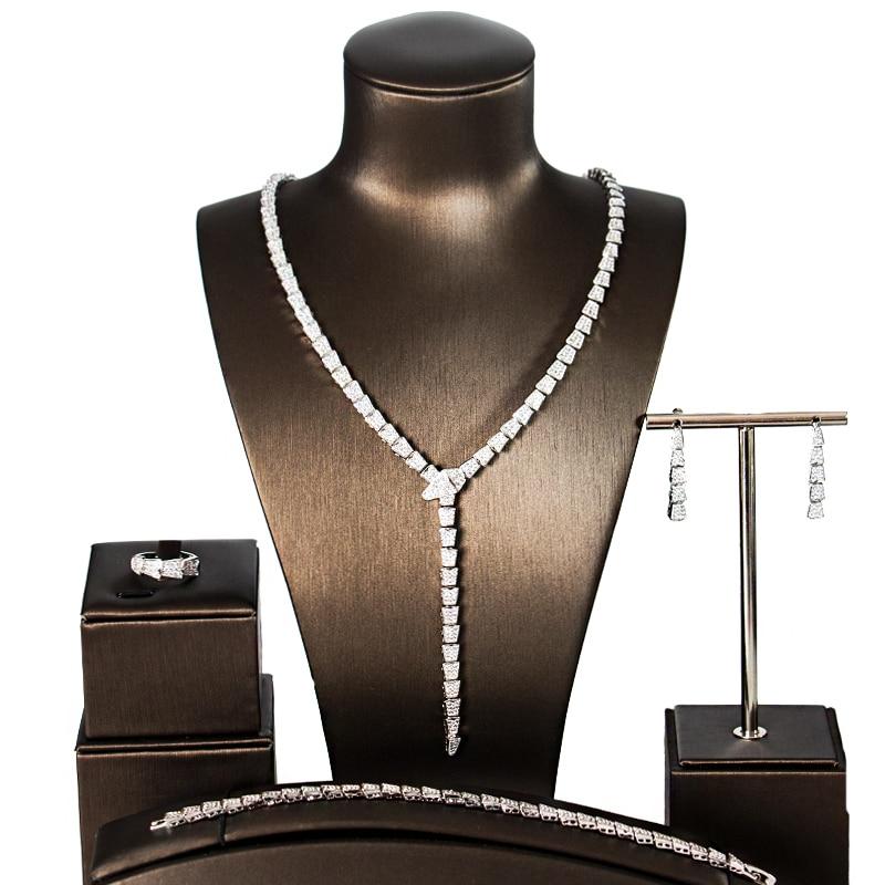 LAN PALACE luxury wedding jewelry copper alloy cubic zirconia jewellery set earrings necklace ring bracelet free
