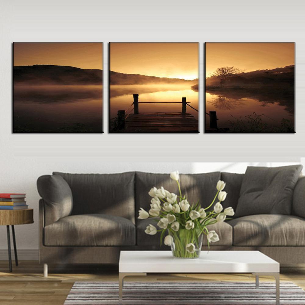 New 3 Pcs/Set Landscape Golden Pier Painting Prints On Canvas River Dusk  Scenery For