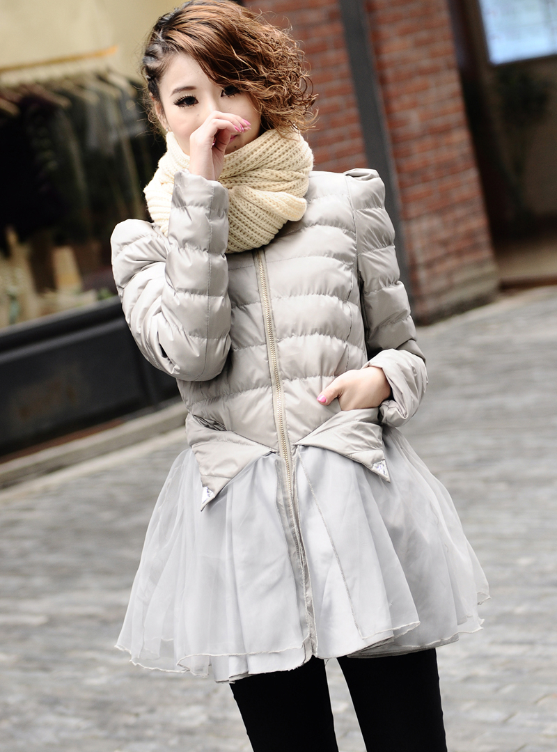 New winter women cute organza patchwork puff sleeve skirt style medium long down padded coat free shipping 4colors M/L/XL D2040 bar iii new women s medium m white perforated faux leather pleated skirt $69