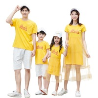 Summer Family Matching Outfits Mesh skirt Mom And Daughter Dresses Family Look LOVE Prints Farther Son T shirt Children Clothes