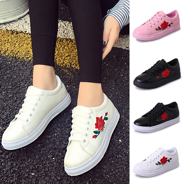 096e6711c90 Women Flats Embroidery Floral Leather Rose Flower Casual Lace Up Sneakers  Trainer Shoes Oxfords 4Colors