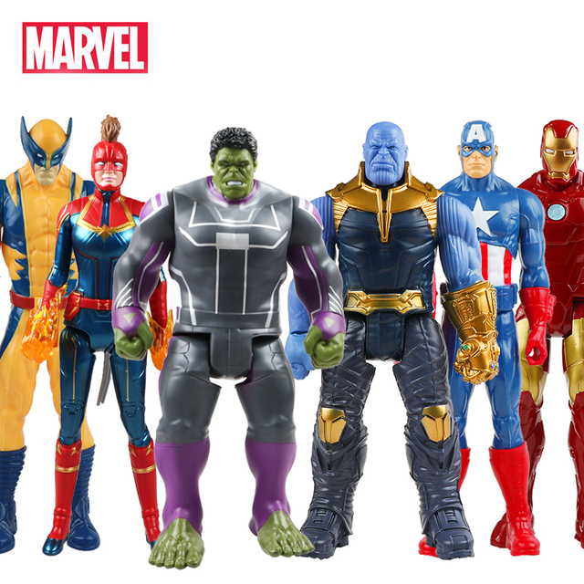 30cm Marvel Avengers Endgame Thanos Spiderman Hulk Buster Iron Man Captain America Thor Wolverine Action Figure Toy For Boy Gift