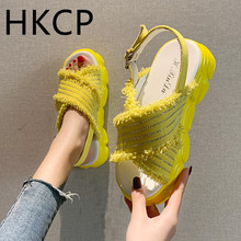 HKCP Fashion Sandals women 2019 summer new platform sandals with a muffin bottom and crossed tassel C261