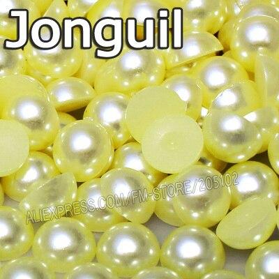 Jonguil желтый половина круглый шарик Mix Размеры 2 мм 3 мм 4 мм 5 мм 6 мм 8 мм 12 мм имитация ABS плоской задней жемчужина DIY Nail ювелирных аксессуаров