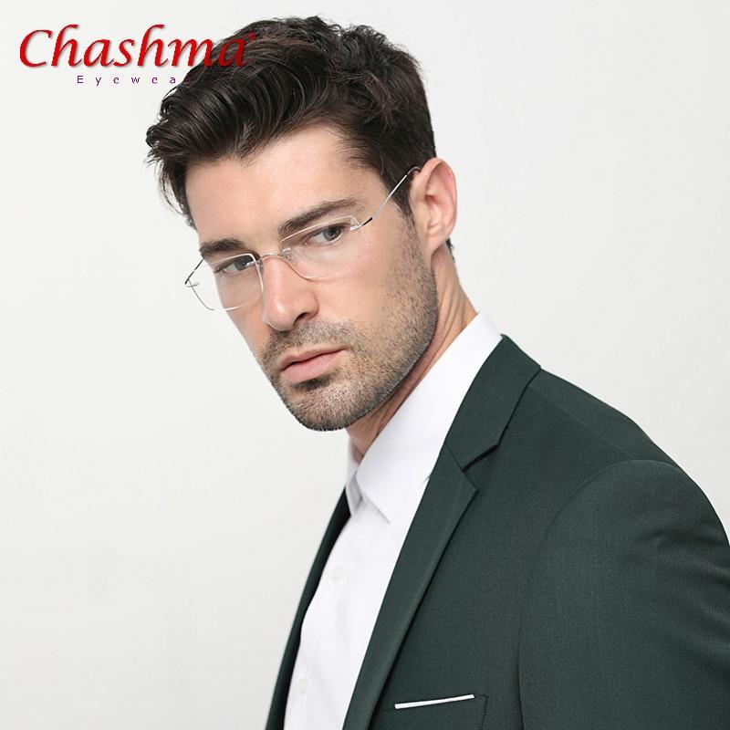 Chashma Titanium Glasses Frame Men Rimless Fashion Business Eyeglasses