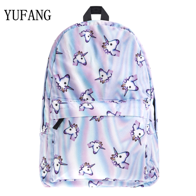 YUFANG 2017 Hot Women Unicorn Backpack 3D Printing Travel Softback Women Mochila School Space Backpack Notebook Girls Backpacks