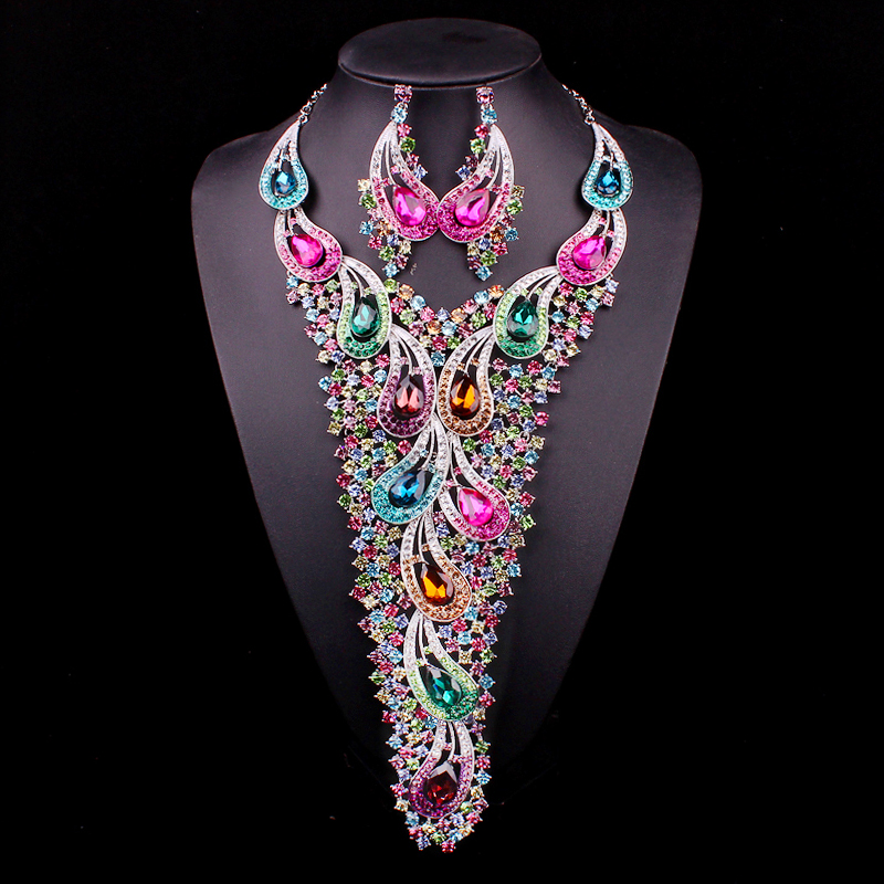 Big Long Crystal Bridal Jewelry Sets for Brides Indian Silver / Gold Color Earring Necklace sets Wedding Party Costume Jewellery