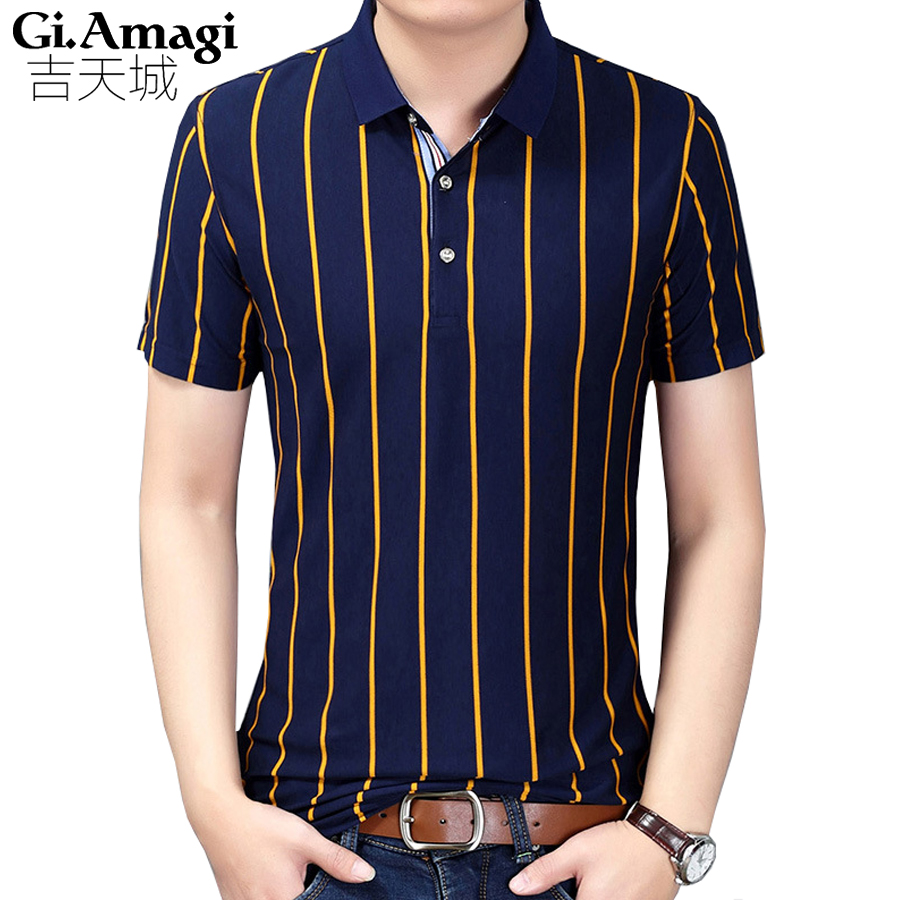 Business classic stripes men polo shirt slim fit short for Mens slim fit short sleeve shirt