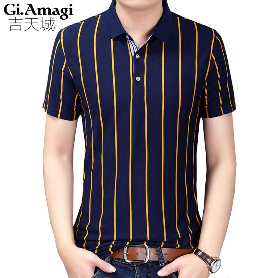 Business classic stripes Men Polo Shirt Slim Fit Short Sleeve Cotton Brand Clothing Fashion Summer  Mens Polo Shirts XXXL
