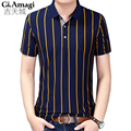 Business classic stripes Men Polo Shirt Slim Fit Short Sleeve Cotton Brand Clothing Fashion Summer  Mens Polo Shirts XXXL