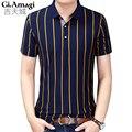 Negocio clásico de rayas de los hombres camisa de polo slim fit de algodón de manga corta marca de ropa de moda de verano para hombre polo camisas xxxl