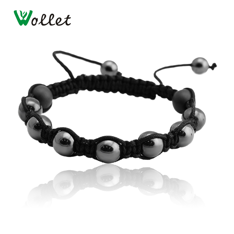 Fashion Magnetic Hematite Beads Bracelet For Men Black Round Health Energy Magnet Jewelry ...