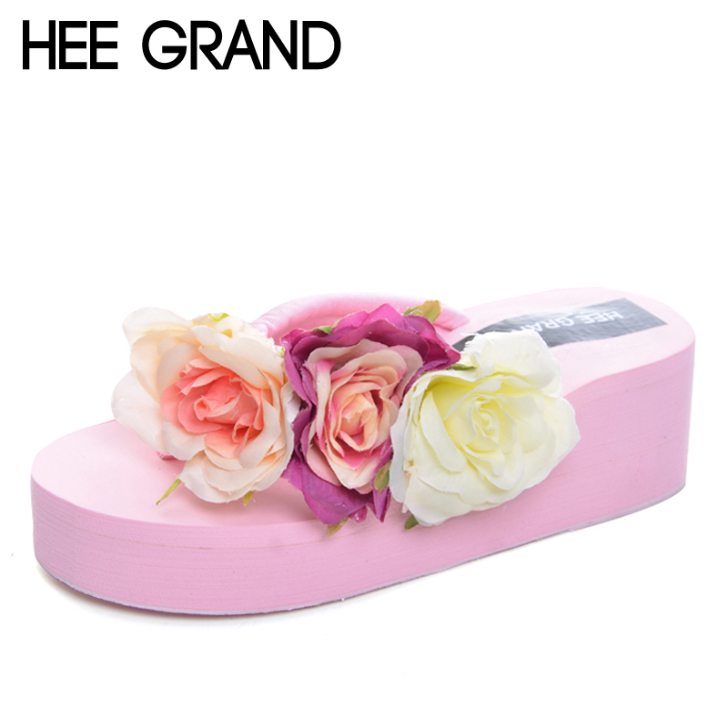 HEE GRAND Summer Flip Flops 2017 Beach Wedges Slides Slip On Casual Creepers Platform Shoes Woman Sweet Flowers Slippers XWT590 hee grand 2017 creepers summer platform gladiator sandals casual shoes woman slip on flats fashion silver women shoes xwz4074