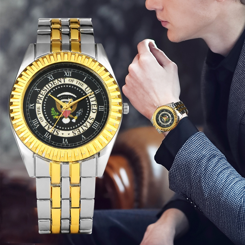 45th President Of The United States White House Gold Coin Donald Trump Mens Watch Seal Of President Of America Clock Collections