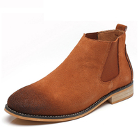 Brand Genuine Leather Vintage Real Suede Leather Men Boots For Casual Walking Leisure Winter Shoes Ankle