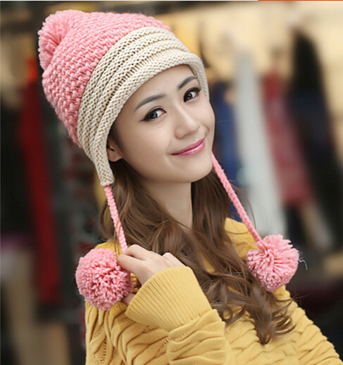 BomHCS Cute Women Lady Girl Ear Muff Knitted Hat Autumn Winter Warm Wool Handmade Beanie Hats Skully Cap With Balls bomhcs cute big flower beanie winter lady s warm crochet knitted hat 10