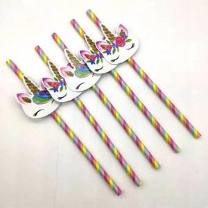 Image 2 - 20pcs Cartoon Unicorn Rainbow Paper Straws For Baby Shower Wedding Party Birthday Decoration Supplies Paper Drinking Straws