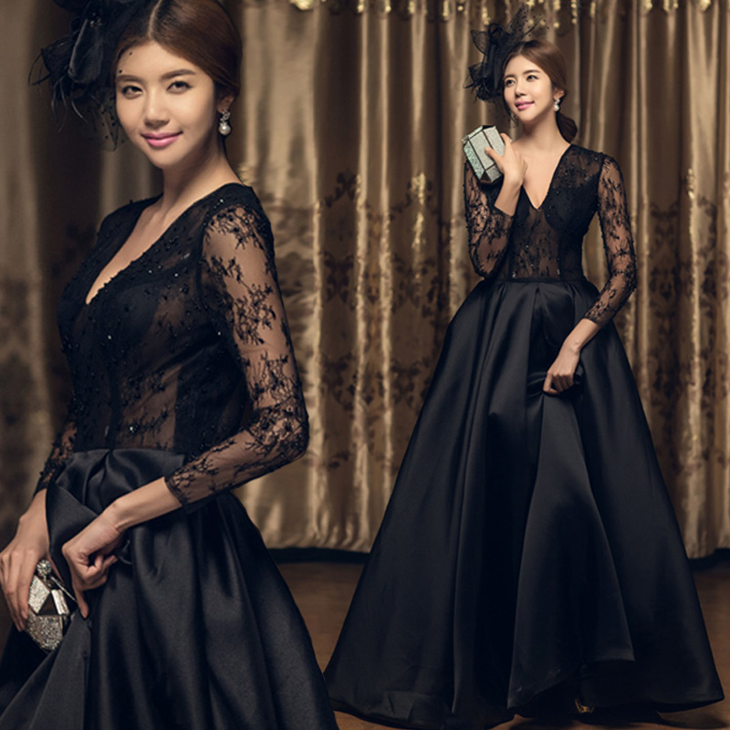 Купить с кэшбэком Robe De Soiree Long Sleeves Evening Floor Length Vintage Lace Top Cheap Prom Dresses