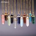 Sedmart bala forma de pedra natural turquesa colar de pingente de pedra de cristal de quartzo ponto de cura pingente colares mulheres jóias