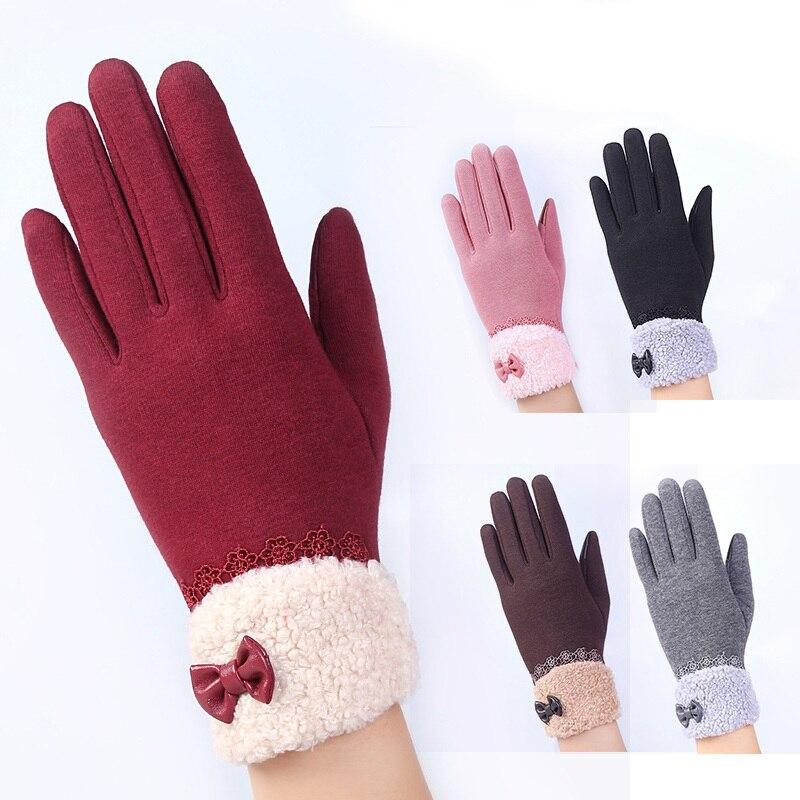 Newest Women Soft Gloves Fashion Telephone Touch Screen Gloves Winter Sport Warm Gloves Women's Cashmere Mittens luvas