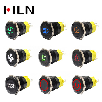 19mm 12v LED stainless steel black metal push button switch dashboard warning symbol momentary latching on off car racing switch 12mm metal push button switch round head switch with 12v led illuminated on off momentary switch pushbutton