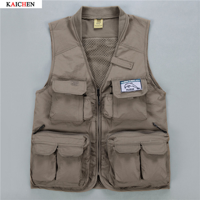 Spring 2016 New Cotton Photography Vest Multi-Pockets Military Men Vest for Men Professional L-XXXXL Vest Waistcoat Men 2 Colors