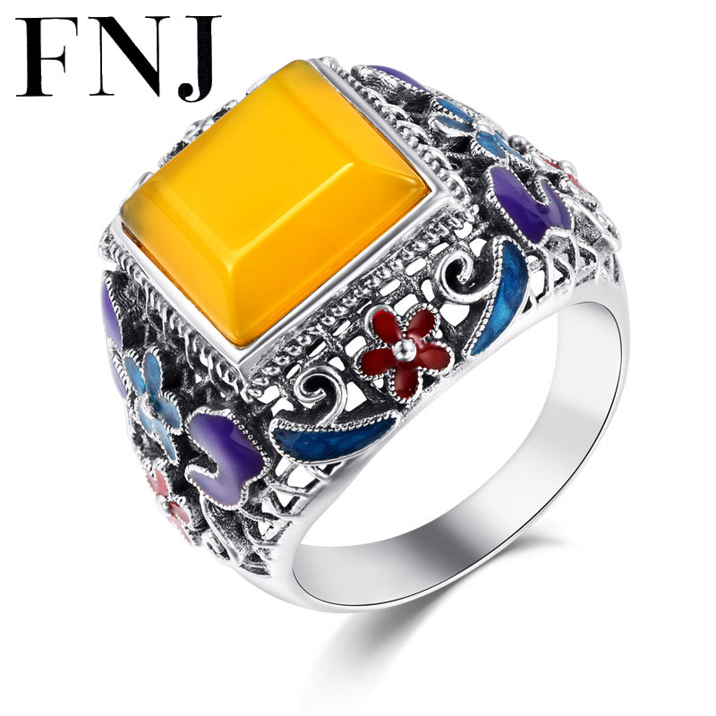 купить FNJ Natural Yellow Stone S925 Thai Silver Ring Square Lapis lazuli 100% Pure 925 Sterling Silver Rings for Women Jewelry LR1 по цене 2009.33 рублей