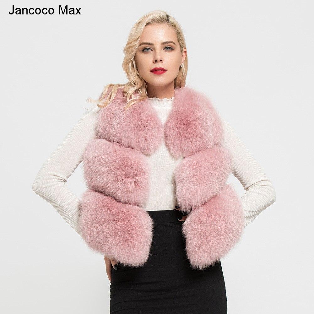 Jancoco Max 2018 femmes Réel de Fourrure De Renard Gilet Hiver Chaud De Haute Qualité 3 Rangées Gilet Sans Manches Manteau Gilet de Mode s7162
