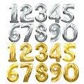 Balões Número Da Folha de Prata de Ouro de 32 polegadas Dígito Ar Balões De Hélio Balões Festa de Aniversário Decoração Do Casamento Fontes Do Partido Do Evento