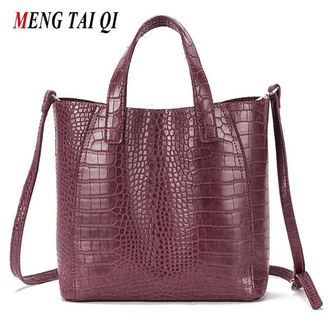 Women Leather Handbags Large Women Bag Shoulder Bags Ladies Brand Alligator Crocodile Pattern Hand Bags Tote Female Blosas 3