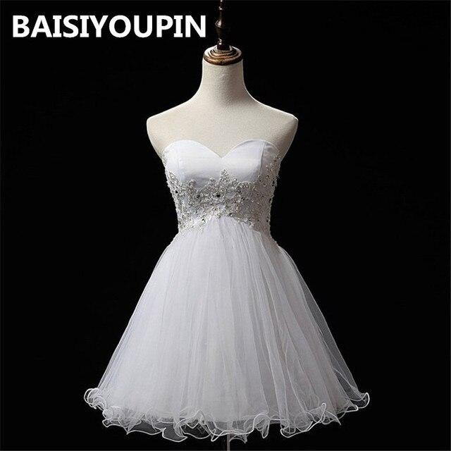 31218a40e18 White Graduation Dresses 2019 Vestidos De 15 Anos Cortos Appliqued Short  Homecoming Dress Cheap