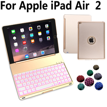 7 Colorful Backlit Aluminum Wireless Bluetooth Keyboard Cover Case for Apple iPad Air 2/Air2 iPad 6 9.7 A1566 A1567 + Film + Pen