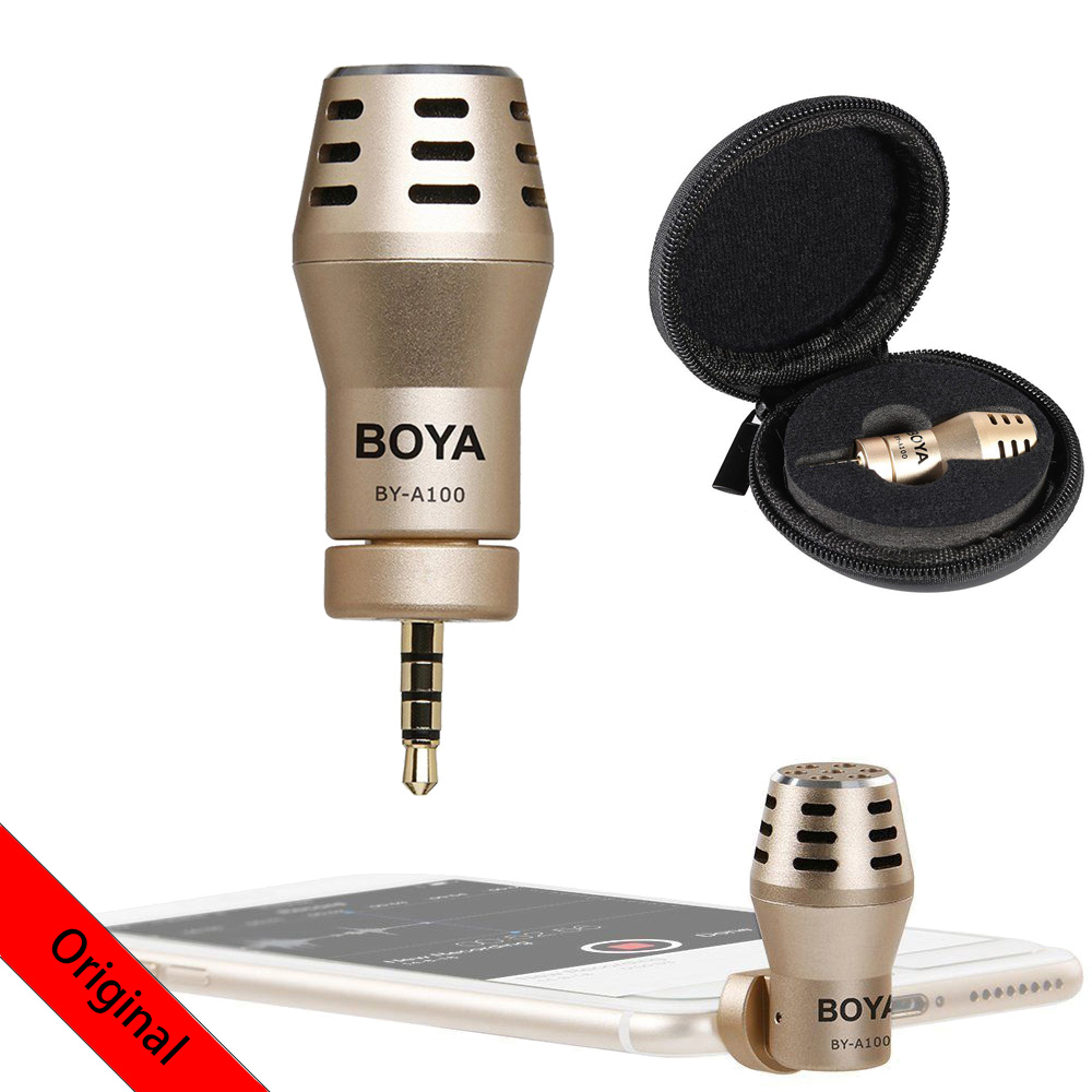 BOYA BY-<font><b>A100</b></font> Omni Directional Condenser Phone Microphone for Xiaomi iPhone 6/6S/5/5S iPad iPod Android <font><b>Samsung</b></font> S6 S5 S4 HTC image
