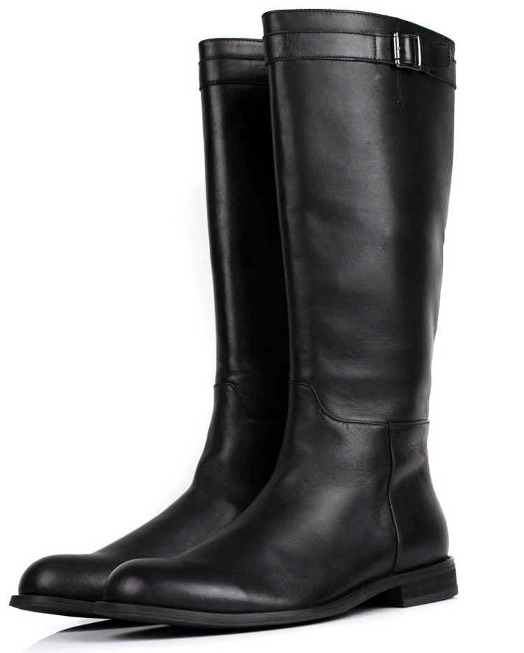 Large size EUR45 slim zipper knee high mens boots genuine leather motorcycle boots fashion mens winter boots
