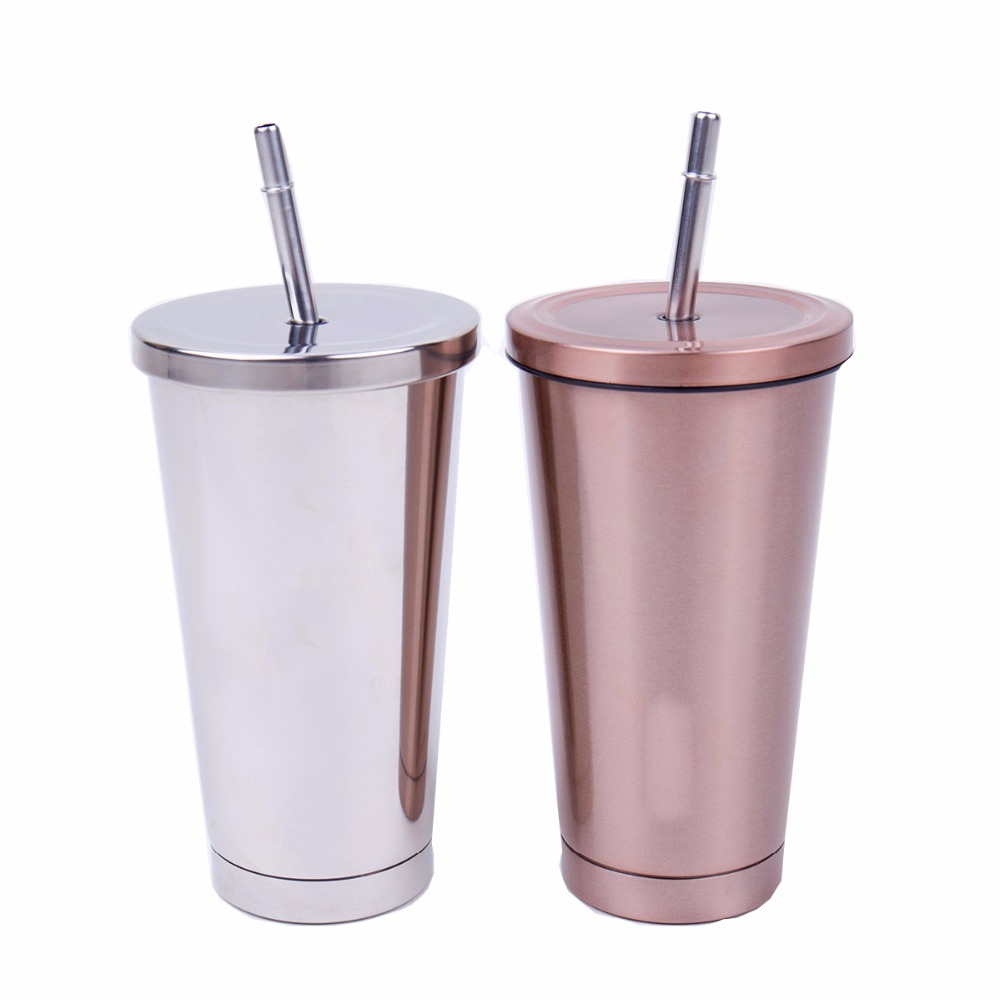 16 Oz Stainless Steel Double Walled Insulated Tumbler and Lid and Straw lid