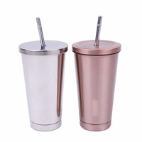 16 Oz Stainless Steel Double Walled Insulated Tumbler And Lid And Straw