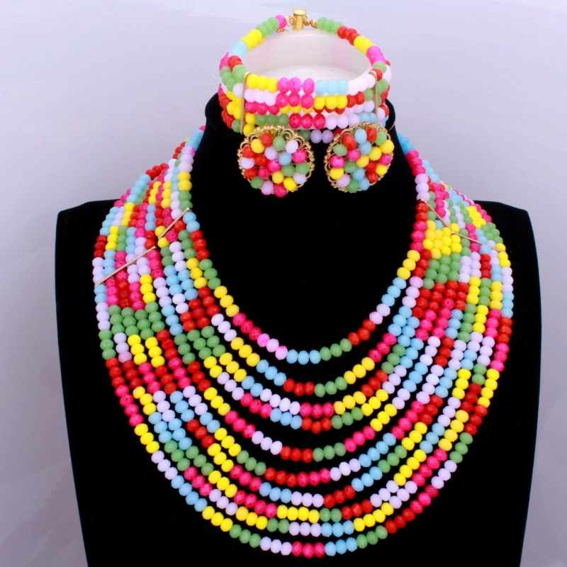 Colorful Necklace Sets Layers African Beads Jewelry Sets Pink White Big Party Jewellery Sets Free Shipping Dudo Jewelry 2018 New