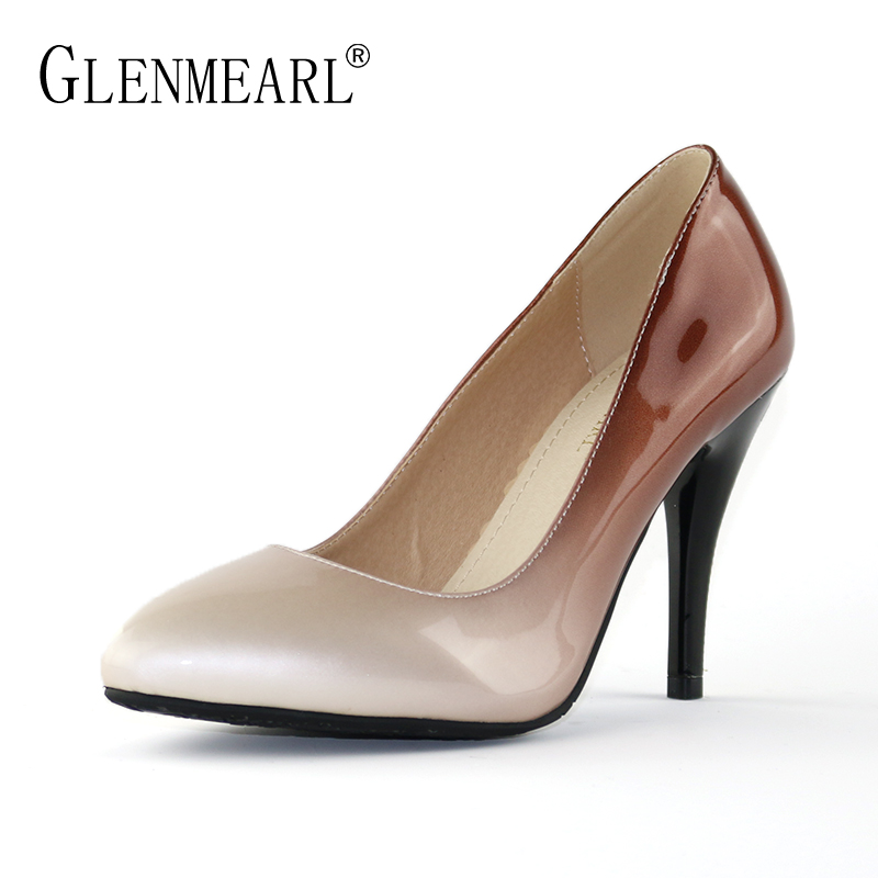 New Women Pumps High Heels Shoes Brand Spring Pointed Toe Black Single Shoes Woman Thin Heels Pumps Females Plus Size Shoes DE bowknot pointed toe women pumps flock leather woman thin high heels wedding shoes 2017 new fashion shoes plus size 41 42