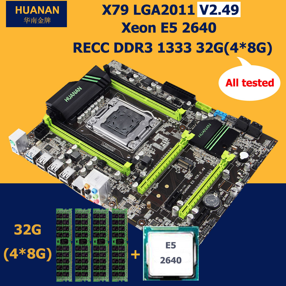 HUANAN V2.49 X79 motherboard CPU RAM combos USB3.0 Xeon E5 2640 RAM 32G DDR3 RECC NVME SSD M.2 port all tested before shipping deluxe edition huanan x79 lga2011 motherboard cpu ram combos xeon e5 1650 c2 ram 16g 4 4g ddr3 1333mhz recc gift cooler