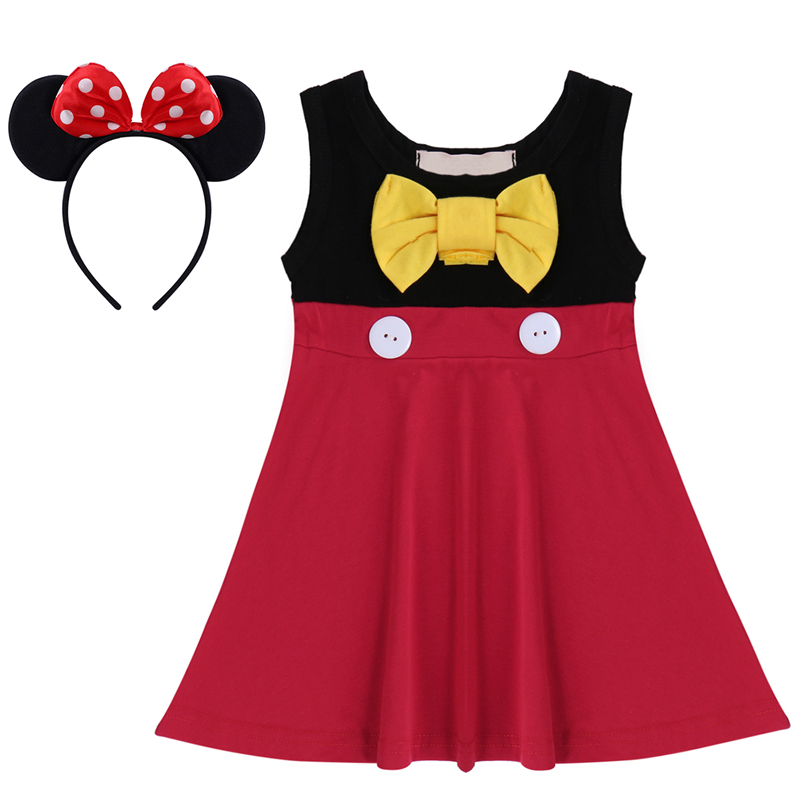 Baby Girl Birthday Cake Smash Minnie Mickey Mouse Dress Headband Clothes Outfits