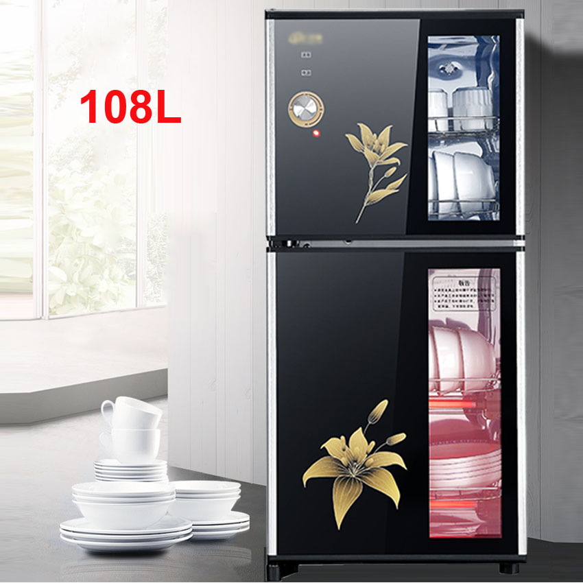 108L Ozone Disinfecting Cabinet Ozone Sterilizer Restaurant Chopsticks Bowl Tableware High Temperature Disinfection