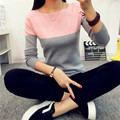 2016 New High elastic Sweater women Stitching color Slash Neck Sweaters All-match Slim Striped Knitting Women Sweater Pullover