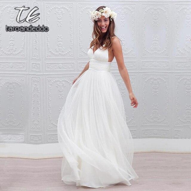 V צוואר ספגטי רצועות חתונת שמלות גב פתוח קו שרוולים לטאטא רכבת כלה שמלת Vestido דה Noiva
