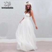 Vestido de noiva com decote em v sem mangas, vestimenta com alças espaguete aberto nas costas