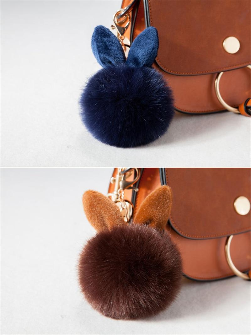 2017 Fur Pom Pom Keychain Fake Rabbit fur ball key chain porte clef pompom de fourrure pompon Bag Charms bunny keychain Keyring 33
