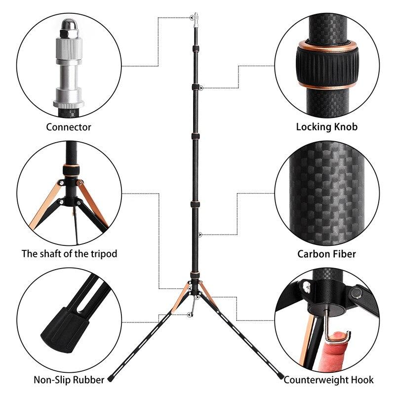 Fosoto FT-220 soporte de trípode de luz Led de fibra de carbono y 2 cabeza de tornillos para estudio fotográfico iluminación Flash paraguas Reflector - 3