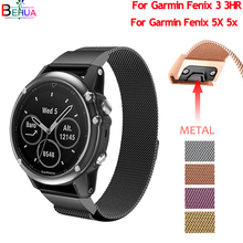 Stainless band For Garmin Fenix 5X 5x Plus watch GPS replace Milanese Loop Quick Release Bracelet strap 3 3HR