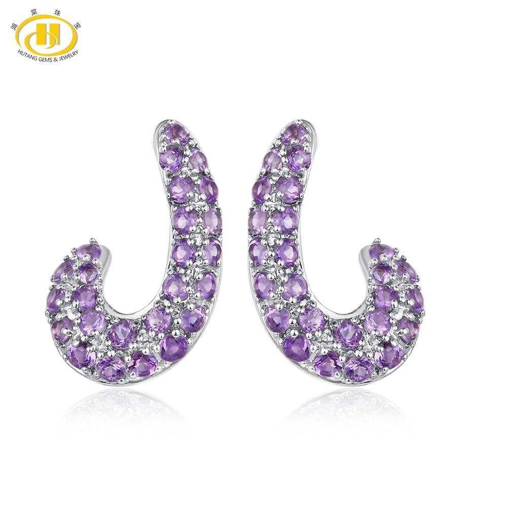 купить Hutang Amethyst Stud Earrings Natural Gemstone Solid 925 Sterling Silver Fine Fashion Stone Moon Jewelry For Women Best Gift New по цене 2821.22 рублей