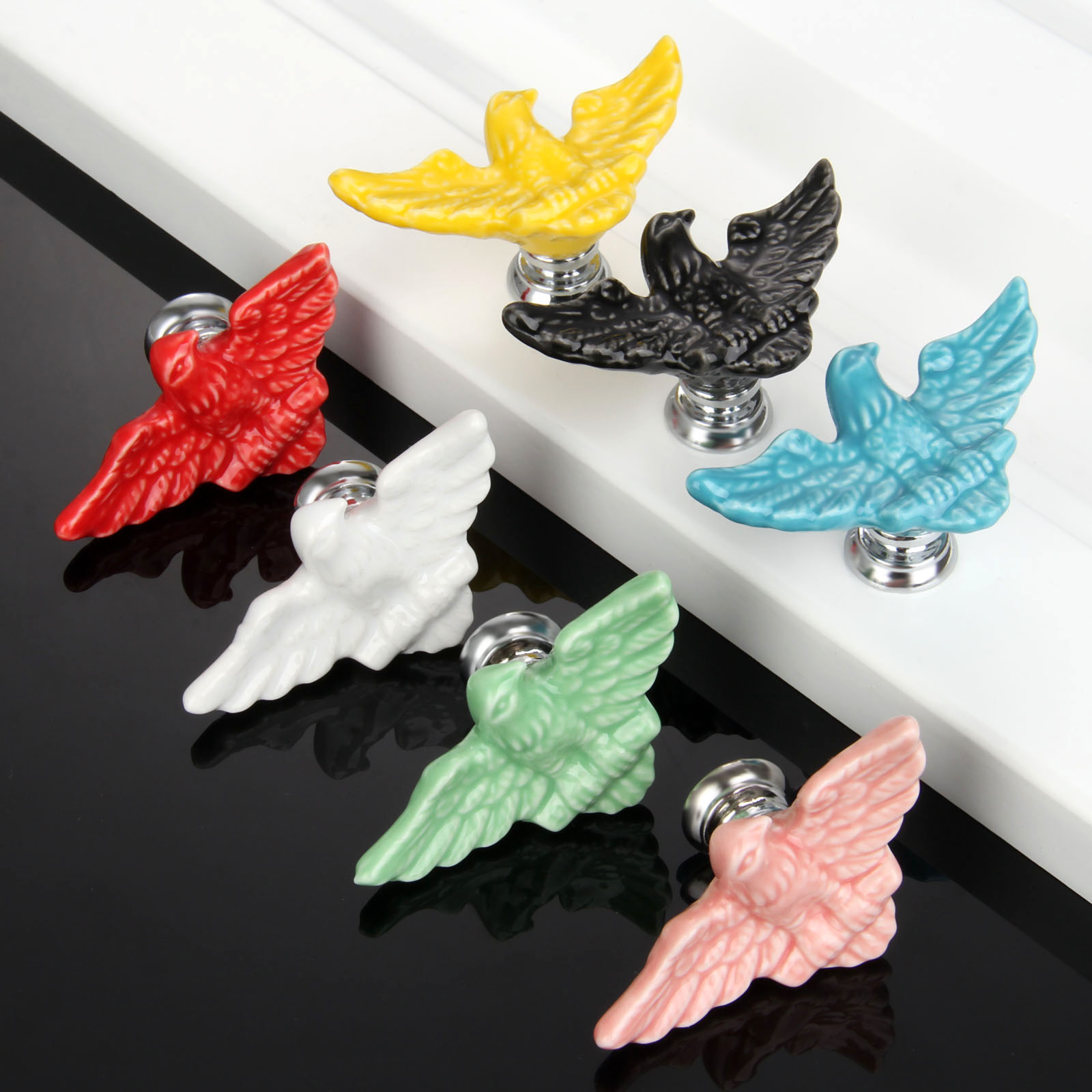 7Pcs Furniture Handles Eagle Cabinet Knobs and Handles Ceramic Door Knob Cupboard Drawer Kitchen Pull Handle for Children Room