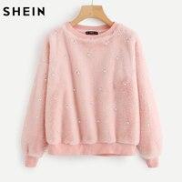 SHEIN Drop Shoulder Allover Pearl Faux Fur Sweatshirt Pink Long Sleeve Womens Sweatshirts Pullover Cute Sweatshirt